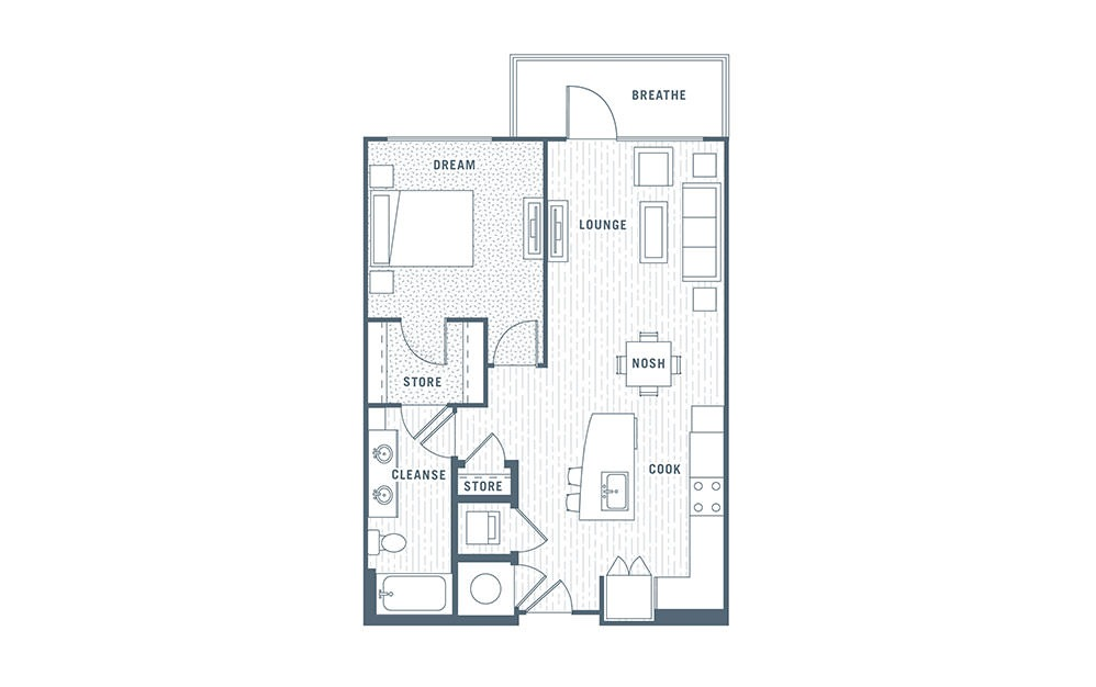 A6 - 1 bedroom floorplan layout with 1 bath and 784 square feet.