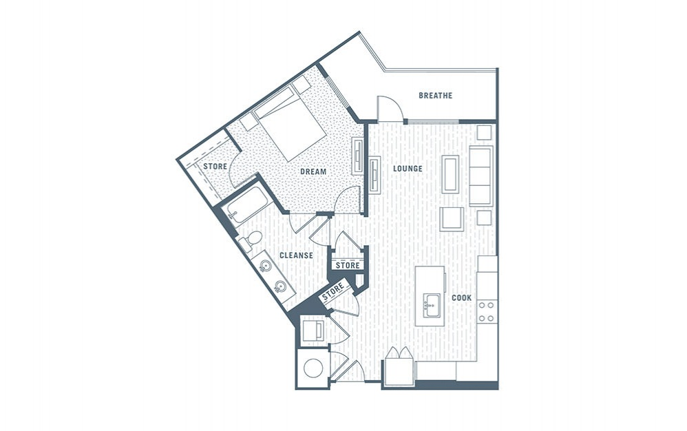 A8 - 1 bedroom floorplan layout with 1 bath and 840 square feet.
