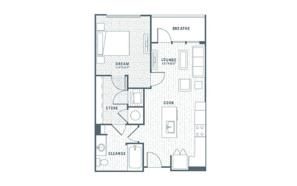 A1 - 1 bedroom floorplan layout with 1 bath and 681 square feet.