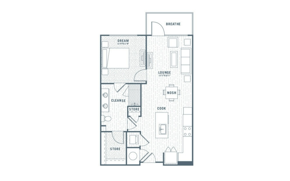 A4 - 1 bedroom floorplan layout with 1 bath and 748 square feet.