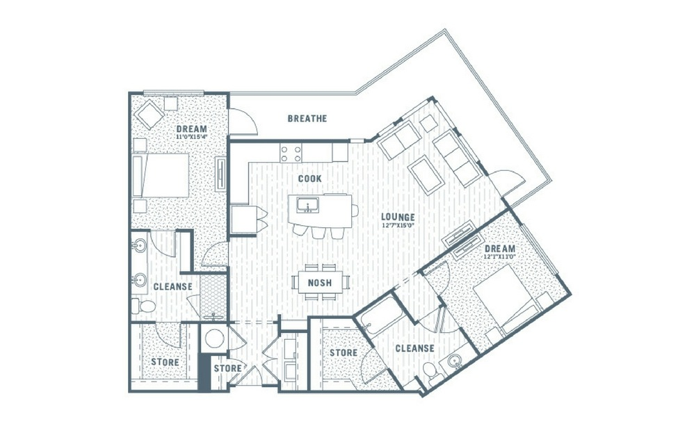 B4 - 2 bedroom floorplan layout with 2 baths and 1355 square feet.