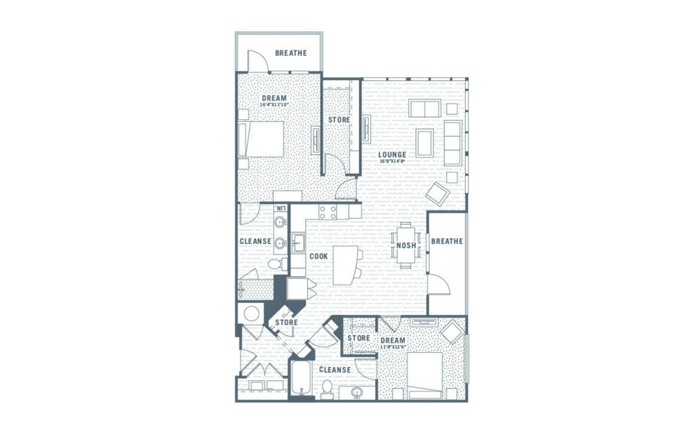 B5 - 2 bedroom floorplan layout with 2 baths and 1389 square feet.
