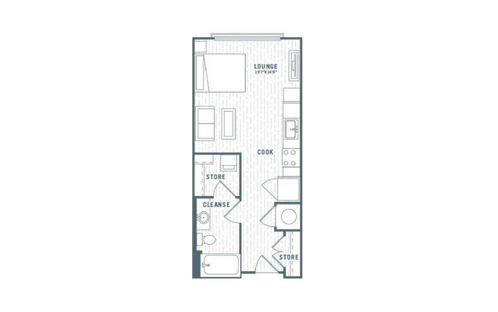 S1 - Studio floorplan layout with 1 bath and 467 square feet.