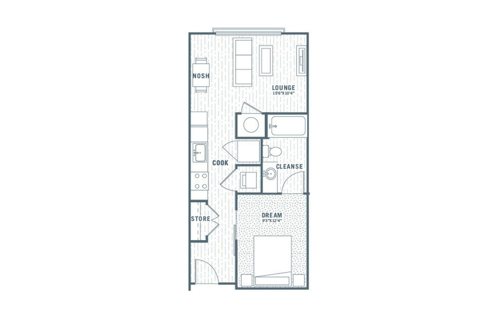 S2 - 1 bedroom floorplan layout with 1 bath and 551 square feet.